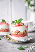 Rhubarb tiramisu served in dessert glasses