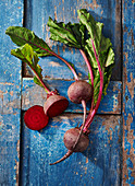 Beetroot on a blue wooden background
