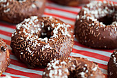Decorated delicious chocolate doughnuts