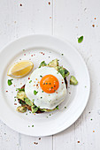 Fried egg and smashed Avocado s on granary toast