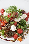 Lentil salad mixed with rocket, tomatoes and mozzarella balls