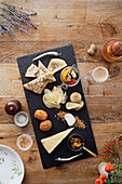 Elegant looking cheese board with champagne