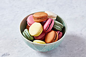 A bowl of macaroons