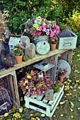 Herbstliche Arrangement mit Blumenstrauß und Dekoration