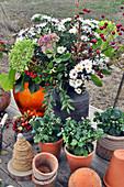 Herbststrauß mit Astern, Hortensie, Fetthenne und Hagebutten