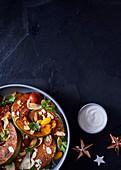 Pumpkin salad with yoghurt-and tahini spread