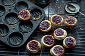 Mini tarts with strawberry jam