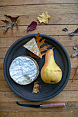 Camembert and pear on a plate