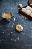 Coconut cookies and coffee