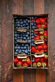 Blueberries and strawberries in crates