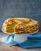 Stacked crepes with honey
