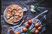 Tasty tart with blood oranges