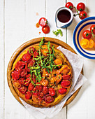 Caramelised tomato and thyme tarte tatin