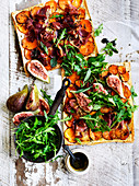 Kumara, Prosciutto and Mozzarella Flatbreads with figs