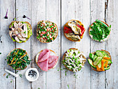 Powerfood rolls with Tuna and Quinoa Tabbouleah, Char-Grilled Vegie, Pastrami and Silver Beet Slaw, Chicken and Avocado