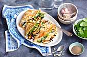 Pancakes with feta and grilled vegetables