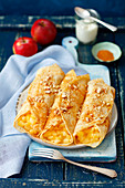 Pancakes with braised apples