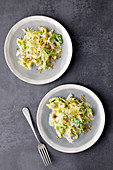Fried freekeh and creamy savoy cabbage