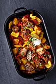 Oven-baked Mediterranean lamb stew