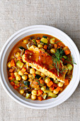 Fish tagine with chickpeas and vegetables