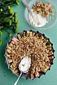 Rhubarb pie with cardamom and pickled ginger