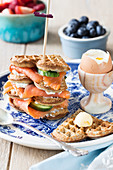 Buckwheat waffles with smoked salmon and egg