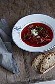 Russian borscht with beef
