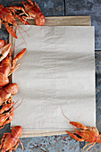 Crayfish and parchment paper