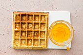 Oat and yoghurt waffles with marmalade