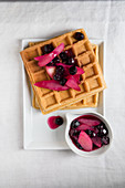 Irish cream liqueur waffles with blueberry and pear compote
