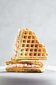 Dill and salmon waffle sandwiches
