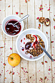 Muesli with roast plums and yoghurt