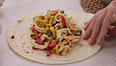 Fajitas with chicken breast and vegetables