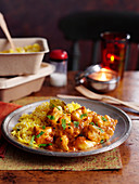 Chicken korma with rice (India)