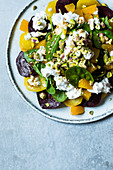 Beetroot and golden beets with goat's cheese and pistachio nuts