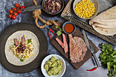Quesadillas with steak, corn, cheese, coriander and guacamole