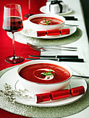 Beetroot Christmas Soup with creme fraiche