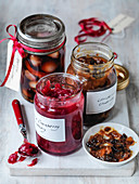 Christmas cranberry chutney, pickled onions and mincemeat for mince pies
