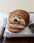 Olive and rosemary bread loaf sliced