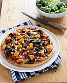 Roasted pumpkin, eggplant and red pepper pizza