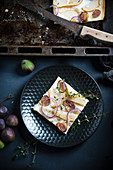 Vegan tarte flambeè with red onions, figs and pears