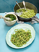 Linguine with pesto and pine nuts
