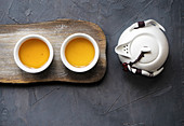 Tea set with cup and teapot as a tea time concept