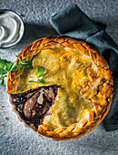 Nutty pear and chocolate pie