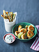 Fish cakes with baby marrow 'fries'