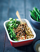 Asian mince and noodle bowl