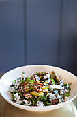Pear salad (Arugula, buttermilk blue cheese, candied pecans and a balsamic reduction)
