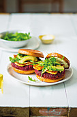 Beetroot and halloumi burgers