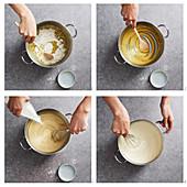 Making sauce bechamel
