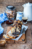 Yeast cake babka with walnuts and chocolate